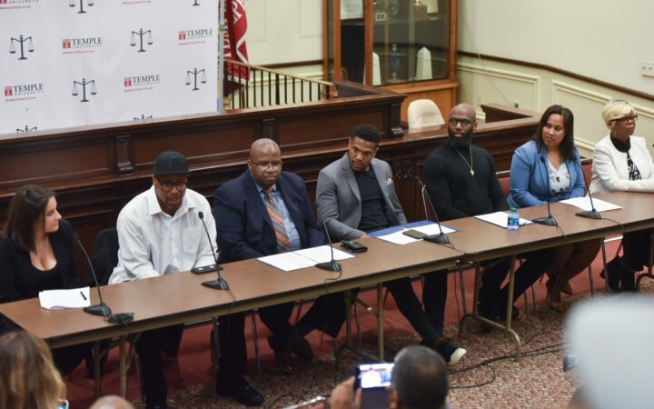 A panel of speakers including Philadelphia Eagles Rodney McLeod and Malcolm Jenkins