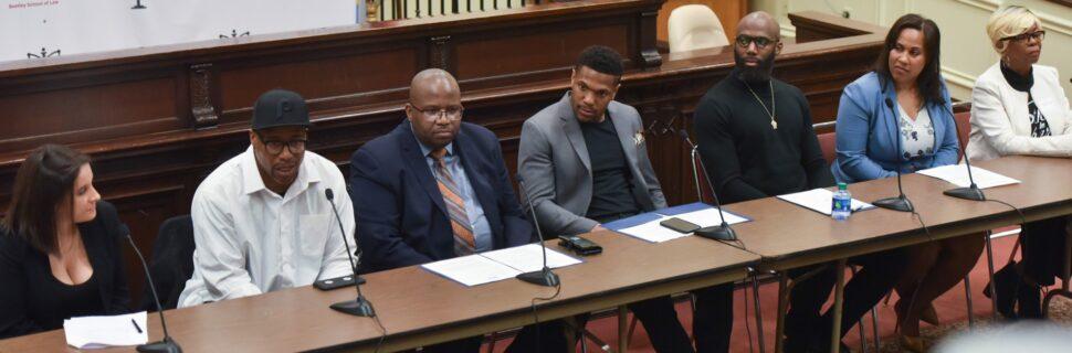 A panel of speakers including Philadelphia Eagles Rodney McLeod and Malcolm Jenkins
