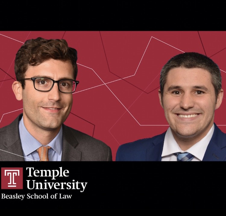 Photos of Louis Couture LAW '21 and Michael Rios LAW '21 on red background with Temple Law logo