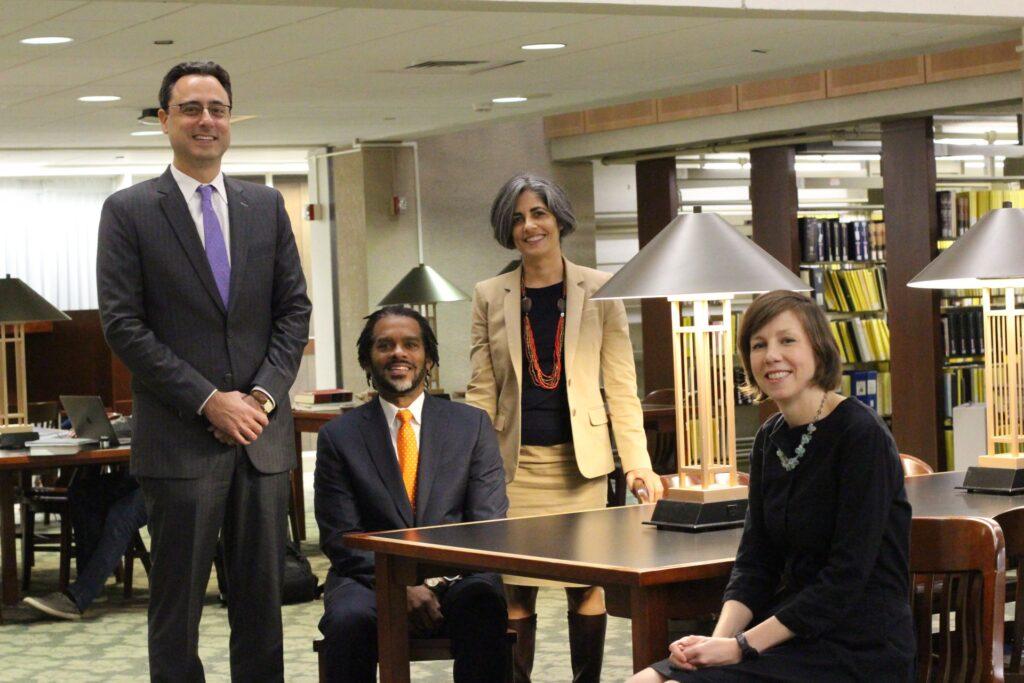 Photo of Dean Manel, Associate Dean Don Harris, Associate Dean Jaya Ramji-Nogales and Associate Dean Rachel Rebouche