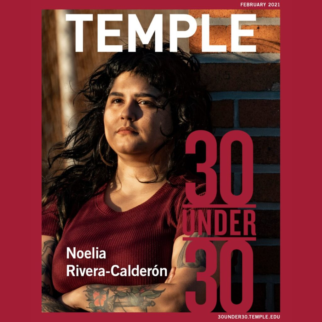 Noelia Rivera-Calderon posing on the front of a magazine cover wearing a red shirt